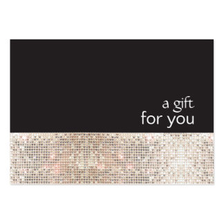 Faux Silver Sequins Black Salon Gift Certificate Pack Of Chubby Business Cards