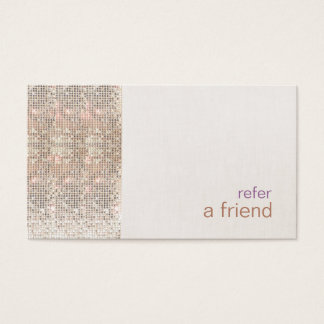 Faux Silver Sequins Customer Referral Salon Business Card