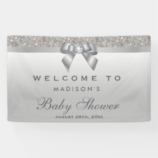 Faux Silver Sequins Diamond Bow Baby Shower Banner