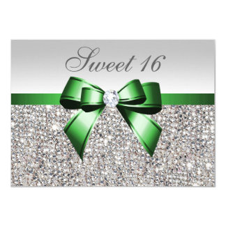 Faux Silver Sequins Emerald Bow Diamond Sweet 16 11 Cm X 16 Cm Invitation Card