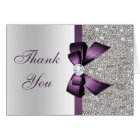 Faux Silver Sequins Purple Diamond Bow Thank You Card