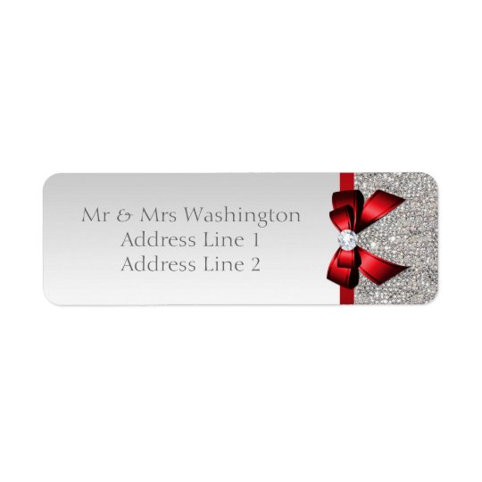 Faux Silver Sequins Red Bow and Diamond Return Address Label