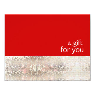 "FAUX Silver Sequins Salon Holiday Gift Certificate 4.25"" X 5.5"" Invitation Card"