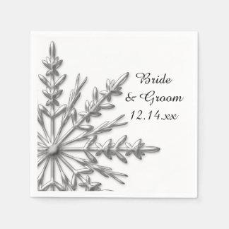 Faux Silver Snowflakes Winter Wedding Disposable Napkin
