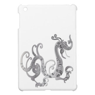Faux Silver Stylized Chinese Dragon iPad Mini Cases