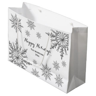 Faux Silver Winter Snowflakes Happy Holidays Large Gift Bag