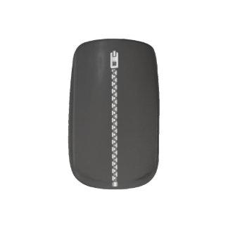 Faux Silver Zipper Minx Nail Art