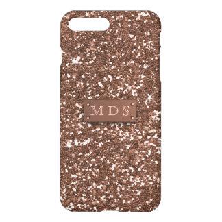 Faux Sparkly Rose Gold Glitter 3D Monogram iPhone 8 Plus/7 Plus Case