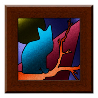 Faux Stained Glass Window Cat Art Poster