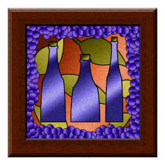 Faux Stained Glass Window Wine & Grapes Art Poster