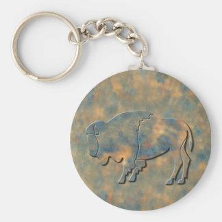 Faux Stone Bison Basic Round Button Key Ring