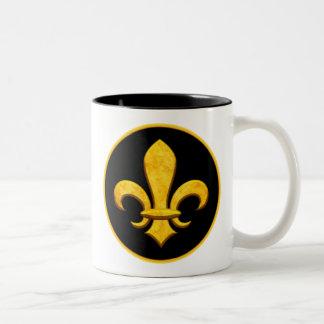 Faux Stone Gold Fleur de lis Coffee Mugs