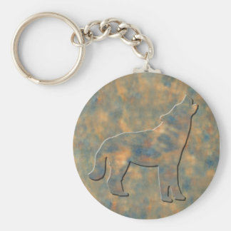 Faux Stone Wolf Art Basic Round Button Key Ring