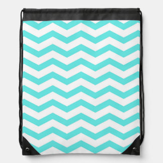Faux Teal Blue White Foil Chevron Zig Zag Drawstring Backpack