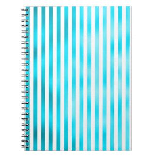 Faux Teal Blue White Vertical Aqua Narrow Stripes Notebook