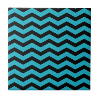 Faux Teal Dark Blue Black Foil Chevron Zig Zag Small Square Tile