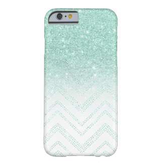 Faux teal glitter ombre modern chevron pattern barely there iPhone 6 case