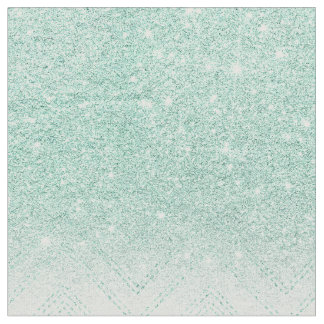 Faux teal glitter ombre modern chevron pattern fabric