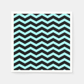"Faux Teal ""Light Blue"" Black Foil Chevron Zig Zag Disposable Serviette"