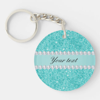 Faux Teal Sequins and Diamonds Key Ring