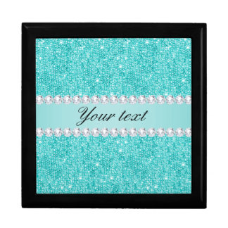 Faux Teal Sequins and Diamonds Large Square Gift Box
