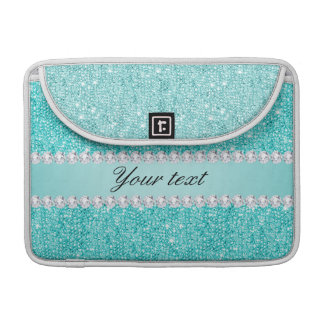 Faux Teal Sequins and Diamonds Sleeve For MacBooks