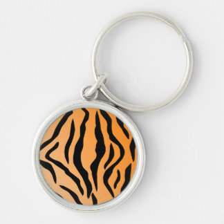 Faux Tiger Print Silver-Colored Round Key Ring
