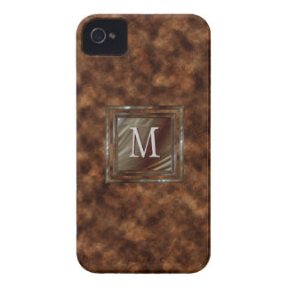 Faux Tortoise Shell Upscale Masculine Monogrammed iPhone 4 Case-Mate Case