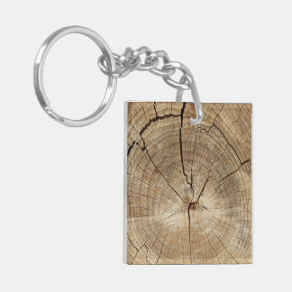 Faux Tree Rings Background Double-Sided Square Acrylic Key Ring