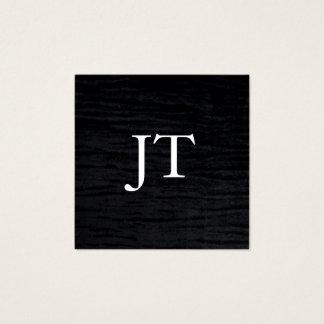 Faux Velvet Black Print with Monogram Square Business Card