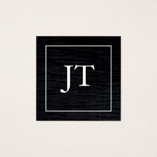 Faux Velvet Black White Border Monogram Square Business Card