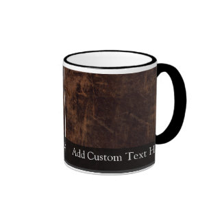 Faux Vintage Leather-Look Coffee Mugs