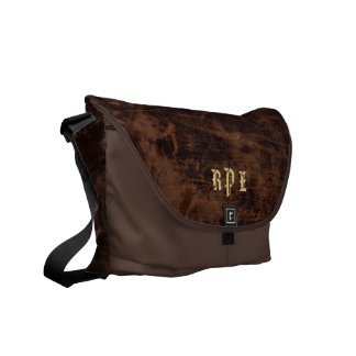 Faux Vintage Leather Monogram Personalized Book / Commuter Bags