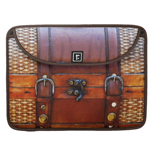 Faux Vintage Leather & Wicker Satchel MacBook Pro Sleeve