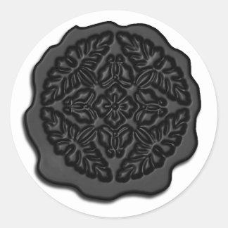 Faux Wax Seal, Black Classic Round Sticker