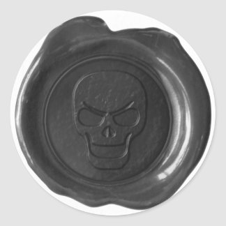 Faux Wax Seal - Black - Skull 01 Round Sticker