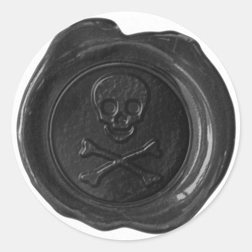Faux Wax Seal - Black Skull & Crossbones - Round Stickers