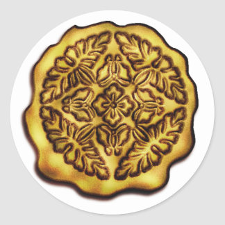 Faux Wax Seal, Gold Classic Round Sticker