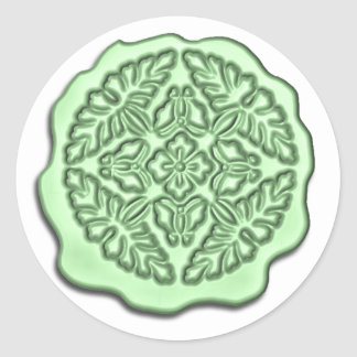 Faux Wax Seal, Mint Green Round Sticker