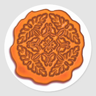 Faux Wax Seal, Orange Classic Round Sticker