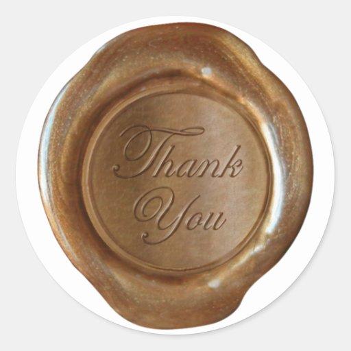 Faux Wax Seals - Copper Script - Thank You Stickers