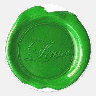 Faux Wax Seals - Green Script - Love Round Sticker