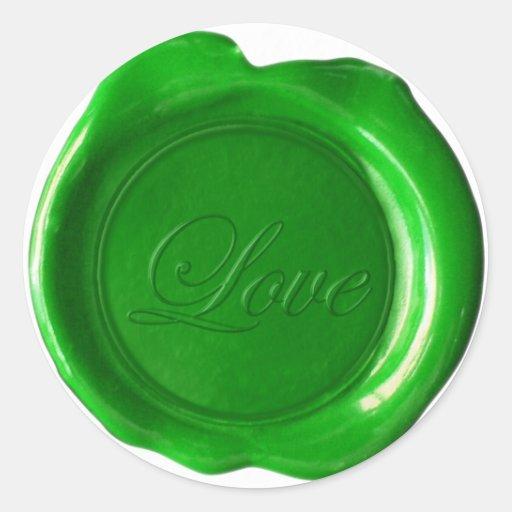 Faux Wax Seals - Green Script - Love Round Stickers