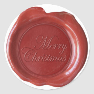 Faux Wax Seals - Red Script - Merry Christmas Stickers