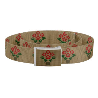 Faux Weave Poinsetta Flower in Pot Belt