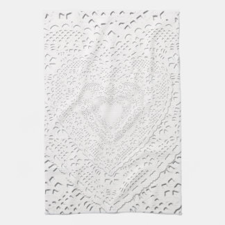 Faux White Lace Fabric Background Tea Towel