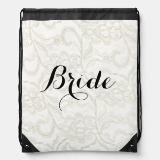 FAUX White Lace Wedding Bridal Drawstring Bag