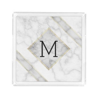 Faux White Marble & Beige Alabaster With Monogram Acrylic Tray