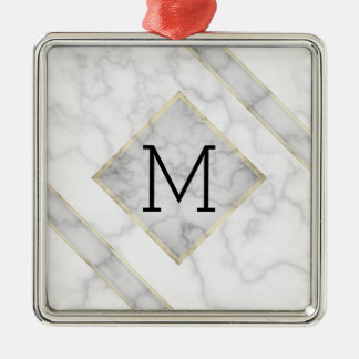 Faux White Marble & Beige Alabaster With Monogram Metal Ornament