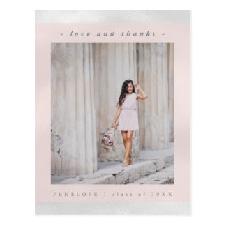 Faux White Metallic with Pink Photo Thank You Postcard